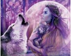 Kiárusítás - Poszter Full Moon - Girl and Wolves in the Forest