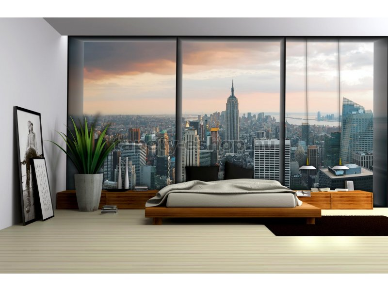 poszter tap ta new york kil t s az ablakb l pap r 254 x 184 cm tapeta. Black Bedroom Furniture Sets. Home Design Ideas